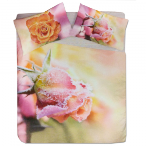 Set copripiumino invernale matrimoniale 2 piazze caldo cotone Rose