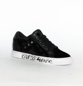 Sneaker nera in velluto logato Guess