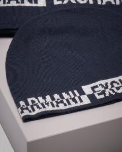 Set sciarpa e berretto blu con logo