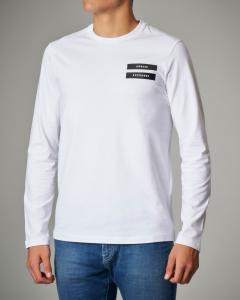 T-shirt bianca a manica lunga elasticizzata