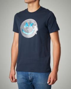 T-shirt blu in cotone con stampa astronauta