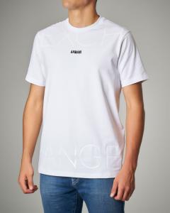 T-shirt bianca stretch con logo