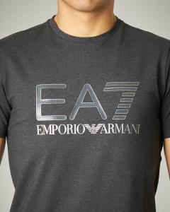 T-shirt grigia stretch logo argento