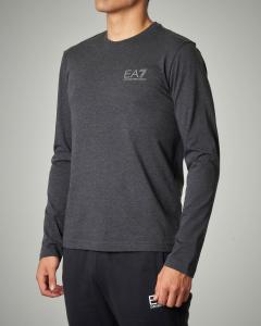 T-shirt grigio scuro a manica lunga con logo