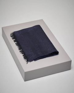 Sciarpa blu in lana e modal