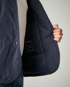Giacca blu con cappuccio e tessuto tecnico
