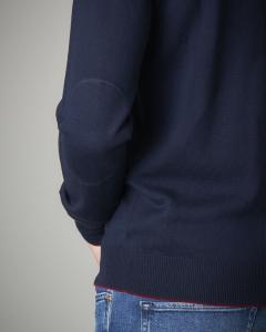 Maglia lana blu girocollo