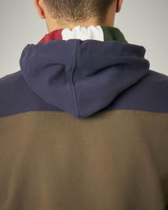 Felpa bicolore con cappuccio e zip