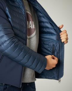 Piumino blu bi-tessuto con cappuccio
