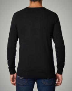 Maglia nera girocollo maxi-logo