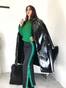 Impermeabile donna lungo in vinile lucido e neoprene con abbottonatura automatica made in italy TG unica
