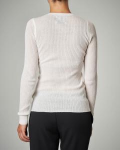 Maglia girocollo bianca in seta e cotone