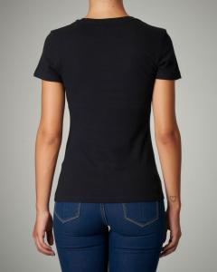 T-shirt nera in cotone maniche corte