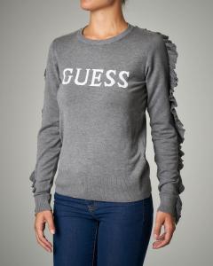 Maglione girocollo grigio in misto viscosa stretch con logo