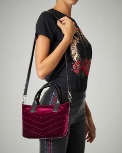 Borsa mini-shopper in velluto bordeaux liscio