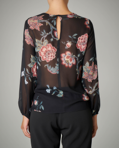 Blusa in georgette stampa floreale base nera