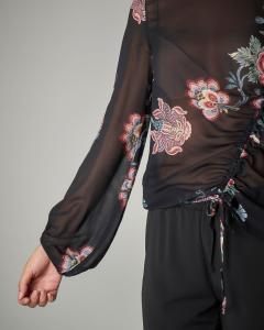 Blusa in georgette stampa floreale base nera