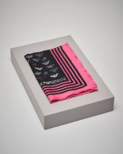 Maxi foulard sfrangiato nero a fantasia logo