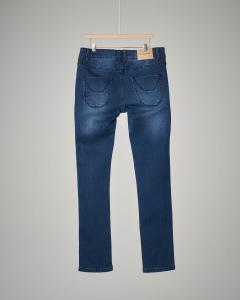 Jeans lavaggio medio-scuro sbiancato con toppe 34-44