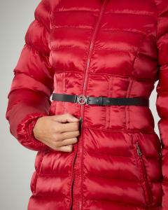 Giaccone imbottito in tessuto tecnico effetto satin colore rosso