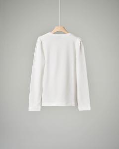 T-shirt bianca con stampa fiori 4-12 anni