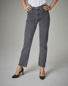 Jeans 501 crop nero a vita media