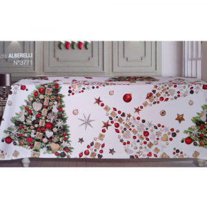 Tovaglia natalizia ovale 10/12 persone 180x280 cm TAG HOUSE - Alberelli
