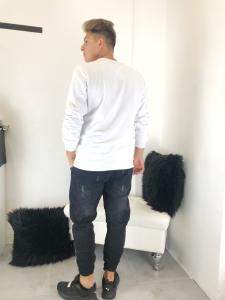 felpa uomo in cotone garzato con bande frontali nere e polsini su maniche made in italy TG S/M/L/XL