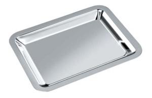 Vassoio rettangolare argentato argento con lux box cm.13,25x10,5x4h