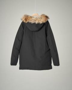 Parka detachable fur nero 10-16 anni