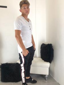 Pantalone uomo tuta in felpa con abbottonatura laterale e banda chiara TG S/M/L/XL