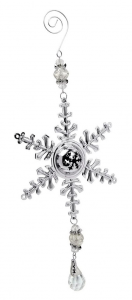 Decorazione fiocco di Neve per Albero di Natale con pendente cm.2,4x10,5x28h
