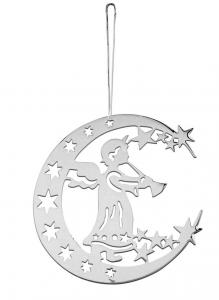 Decoro Angelo e Luna per Albero di Natale cm.0,2x11,5x11,5h