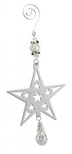 Decoro Stella Per Albero di Natale con pendente cm.1,8x9x20,5h