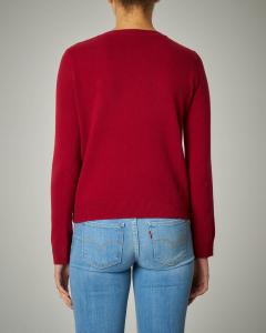 Maglia in lana rossa con ricamo a cuore e scritta