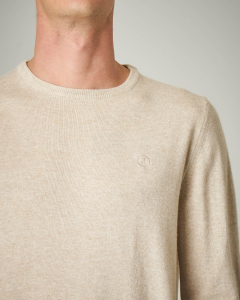 Maglia avorio girocollo con toppe grigio chiaro in contrasto