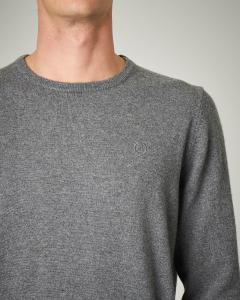 Maglia grigia girocollo con toppe grigio chiaro in contrasto
