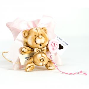 Pochette rigata in lino con fiocco rosa ed orsetto