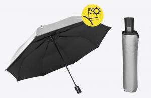 Ombrello pieghevole da uomo automatico con doppio tessuto argento e nero cm.diam.96