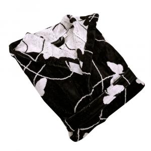 Accappatoio in spugna Carrara con cappuccio MELODY nero farfalle