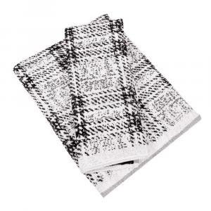 Coppia di asciugamani in spugna Carrara GRENOBLE bianco e nero