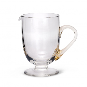 Brocca in Vetro Soffiato con Manico Foglia oro Stile Liscio cm.20x19,2h diam.12,5