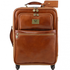 Tuscany Leather TL141390 TL Voyager - Valise verticale en cuir avec 4 roulettes Miel