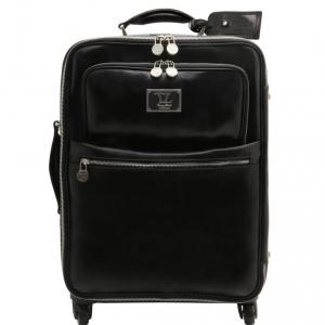 Tuscany Leather TL141390 TL Voyager - Valise verticale en cuir avec 4 roulettes Noir