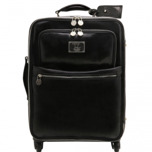 Tuscany Leather TL141390 TL Voyager - 4 Wheels vertical leather trolley Black