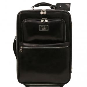 Tuscany Leather TL141389 TL Voyager - Valise verticale en cuir avec deux roulettes Noir
