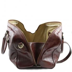 Tuscany Leather TL141249 TL Voyager - Sac de voyage en cuir avec boucles - Petit modèle Marron foncé