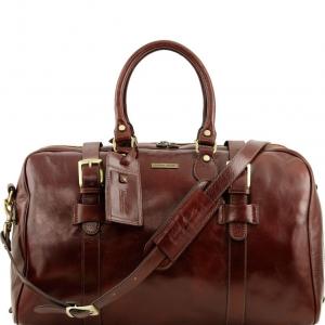 Tuscany Leather TL141248 TL Voyager - Sac de voyage en cuir avec boucles- Grand modèle Marron
