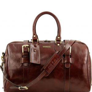 Tuscany Leather TL141248 TL Voyager - Leather travel bag with front straps - Large size Brown
