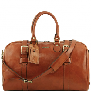 Tuscany Leather TL141248 TL Voyager - Leather travel bag with front straps - Large size Honey